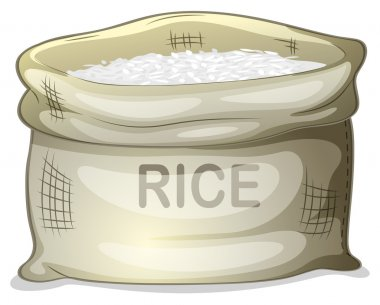 A sack of white rice