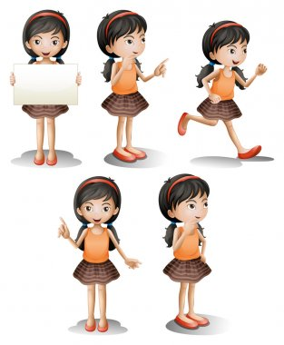 Illustration of the five different positions of a girl on a white background stock vector