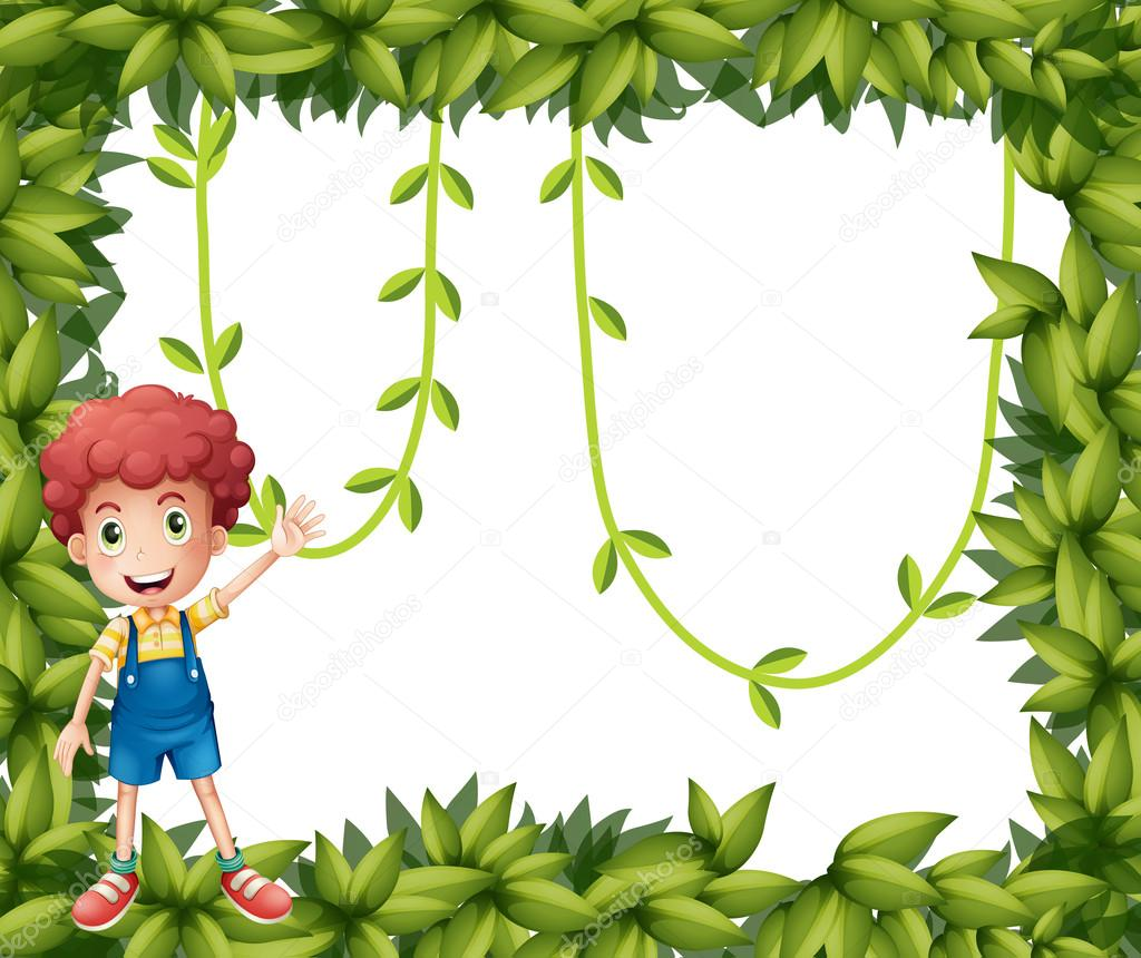 ein Junge mit den grünen Rahmen mit Reben — Stockvektor ...