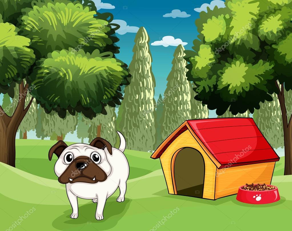 Un bulldog blanco con una comida para perros afuera de su for Colores de casa para afuera