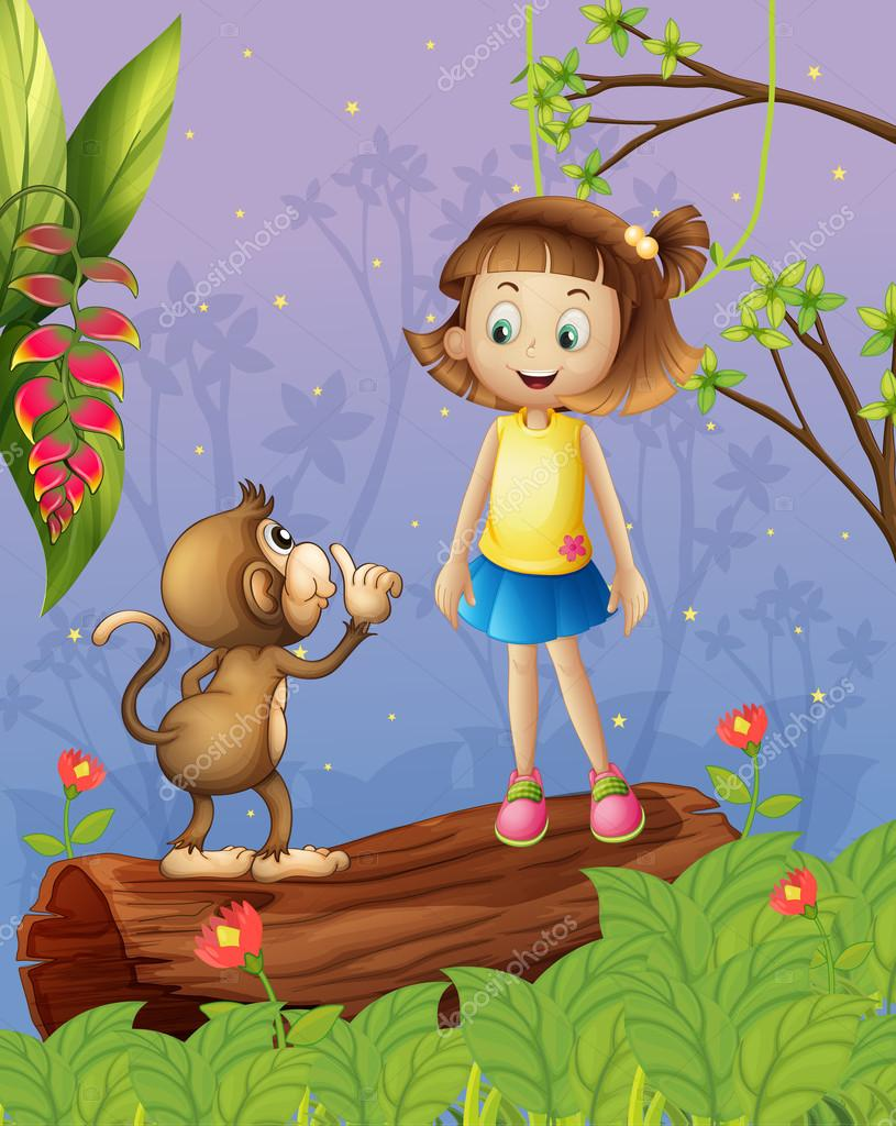 A girl and a monkey in the forest