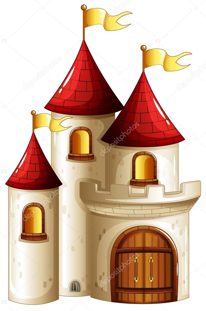 a castle with yellow banners stock vector interactimages 21610461 rh depositphotos com