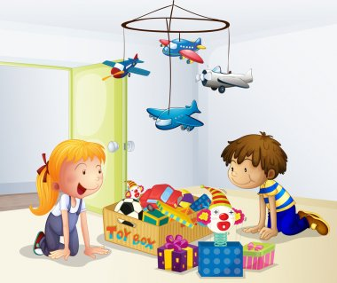 Illustration of a boy and a girl playing inside the house stock vector
