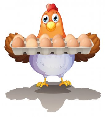 Illustration of a hen holding a tray of eggs on a white background stock vector