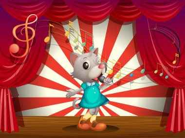 A female rat performing at the stage