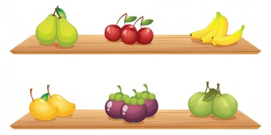 Six different kinds of fruits in the wooden shelves