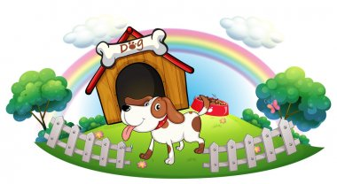 A doghouse inside the fence with a puppy