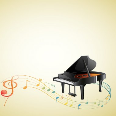 A piano with a G-clef and musical notes