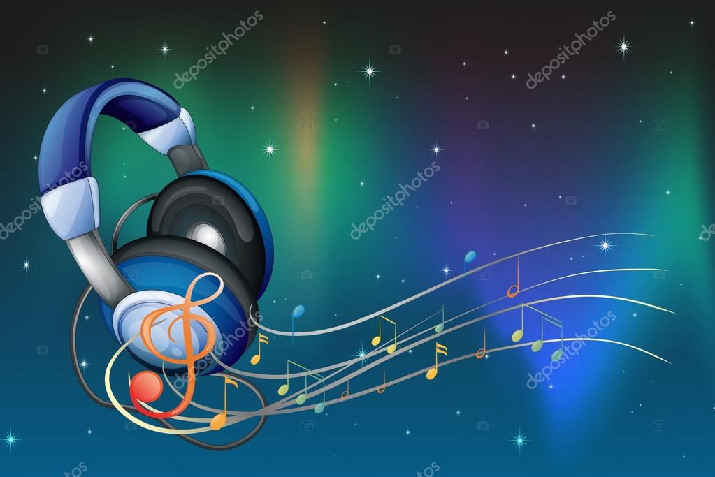 Dibujos Auriculares Y Notas Musicales Un Auricular Con Notas
