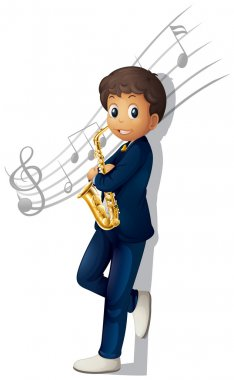 A musician holding a saxophone with musical notes