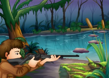 A hunter near the river