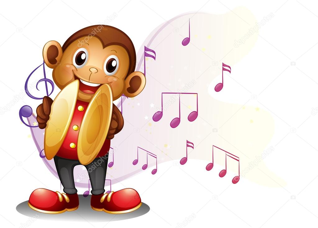 A Monkey Playing With The Cymbals Stock Vector Interactimages