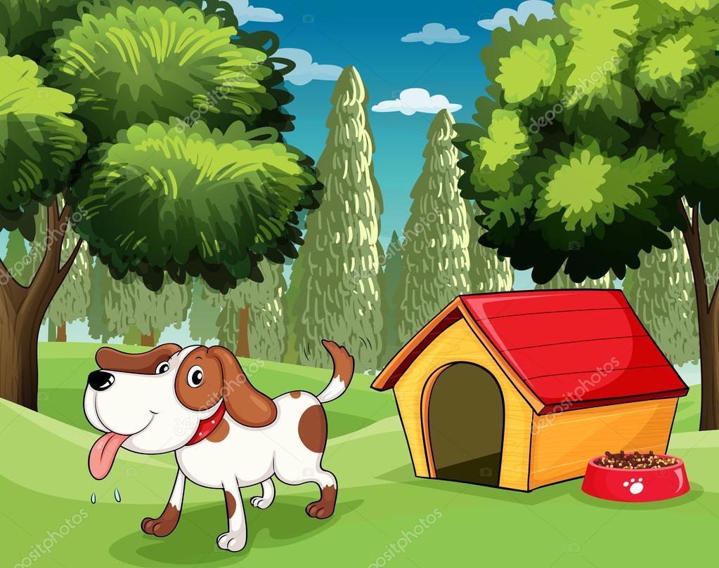 Рисунок: собака в конуре. Собака с собачью будку и dogfood ...