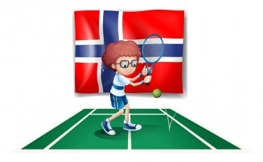 The flag of Norway at the back of the tennis player