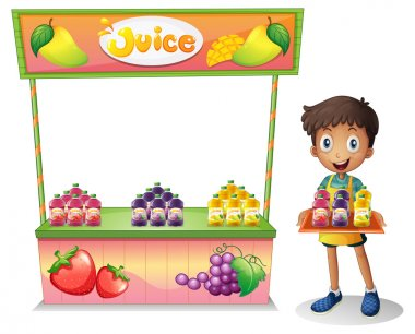 A boy selling fruit juices