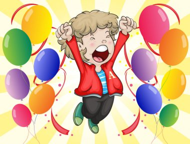 A happy face of a boy with balloons around him