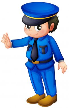 Illustration of a police officer with a complete blue inform on a white background clip art vector
