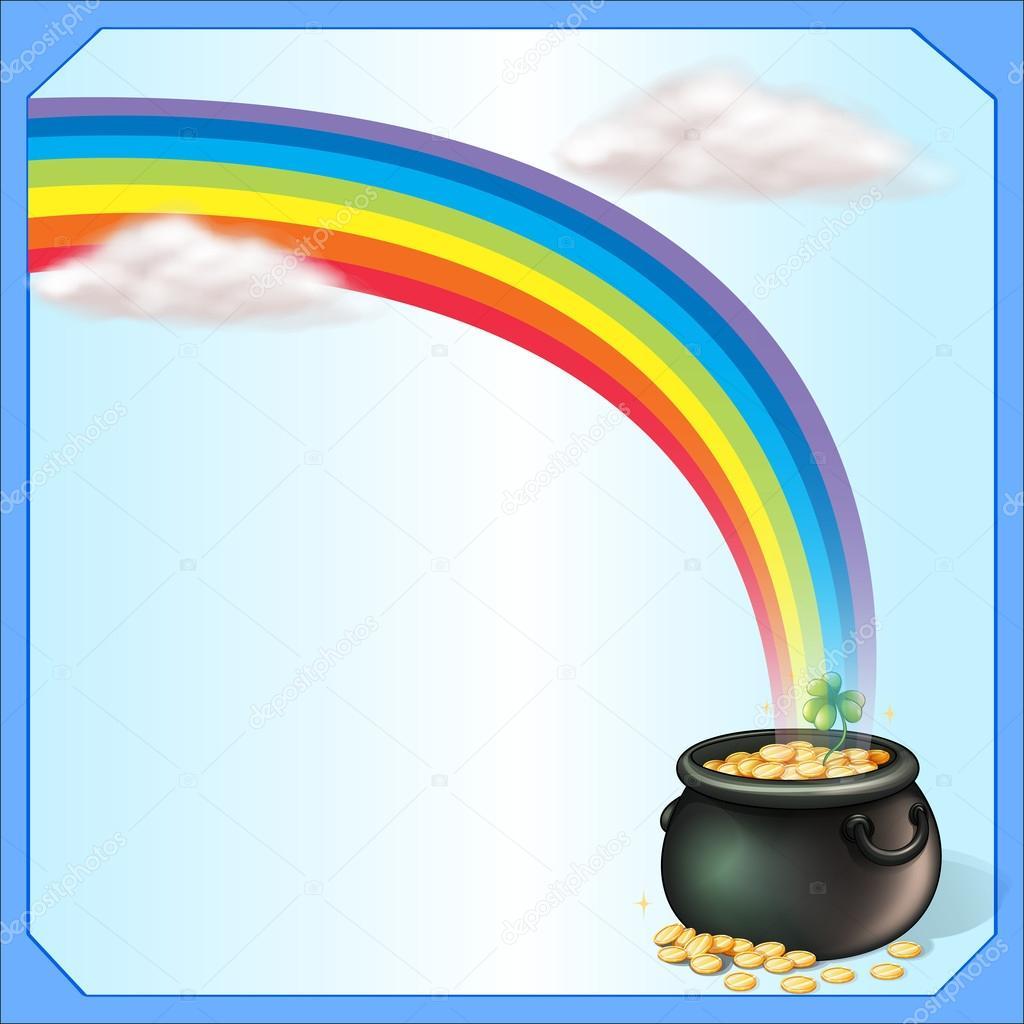 un arco iris y la olla de monedas — Vector de stock © interactimages ...