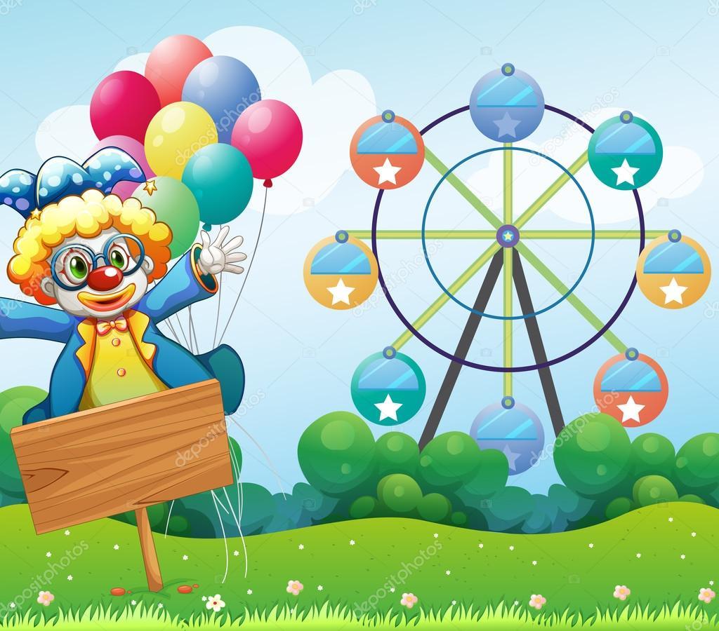 Un clown con palloncini e la segnaletica vuota - Immagine con palloncini ...