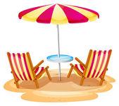 Fotografie ein Stripe-Sonnenschirm und zwei Holzstühle