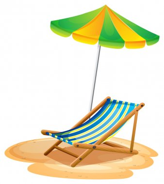Illustration of a bench with a summer umbrella on a white background clip art vector