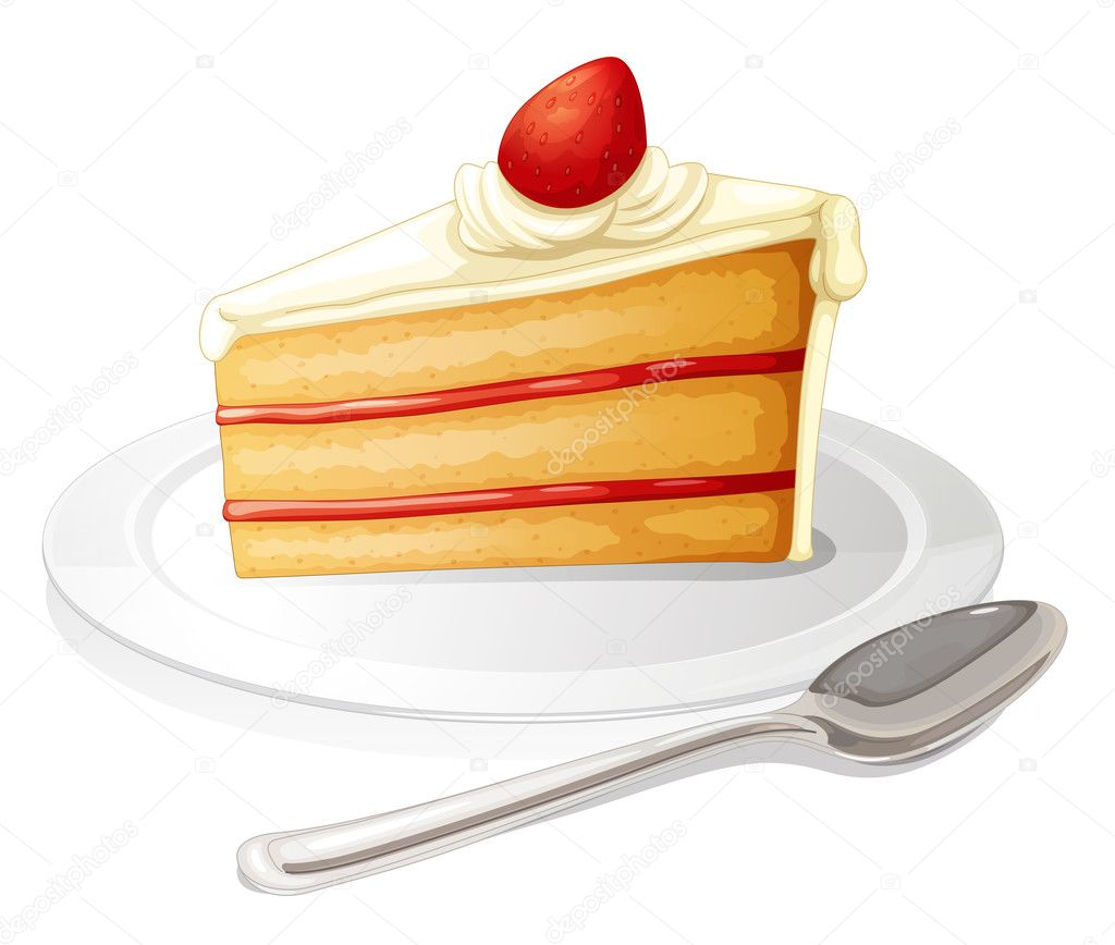 Slice Of Cake On White Plate
