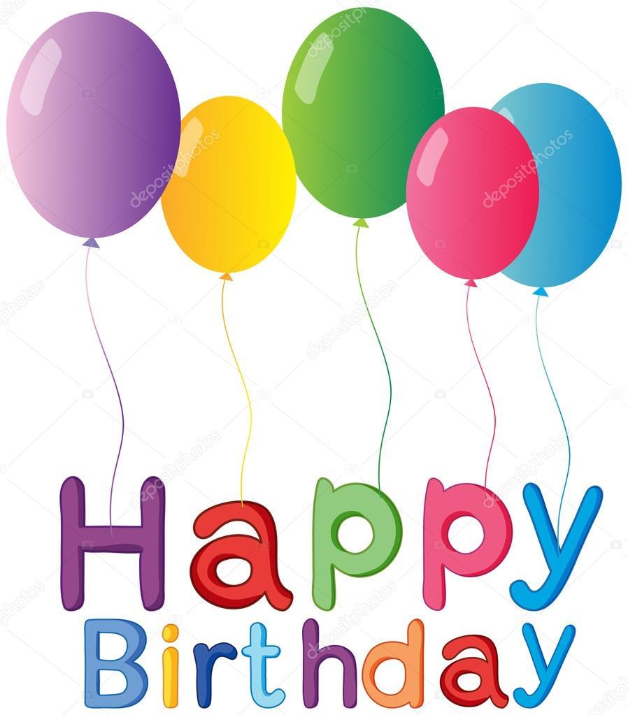 Die Fünf Ballons Mit Einem Herzlichen Glückwunsch Zum Geburtstag Begrüßung  U2014 Stockvektor #23028676