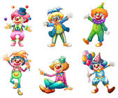 Photo Six different clown costumes