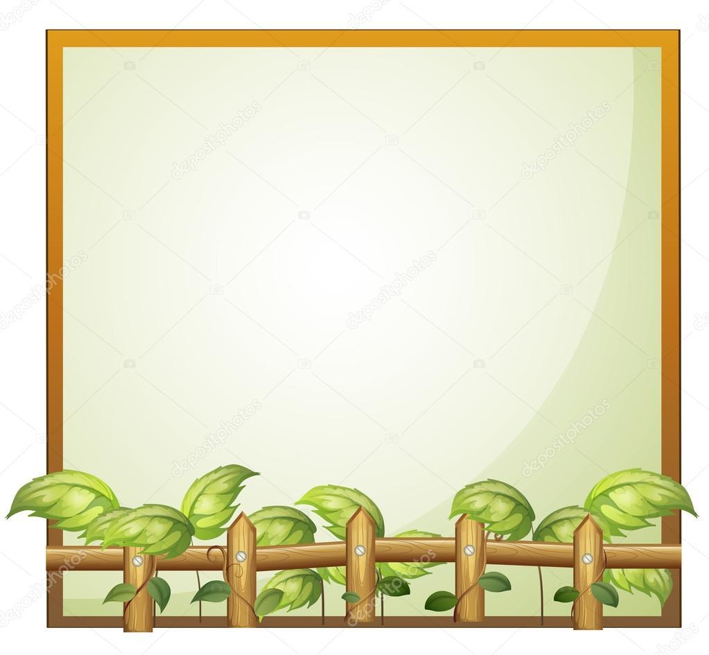einen leeren Rahmen mit einem hölzernen Zaun und Reben Pflanzen ...