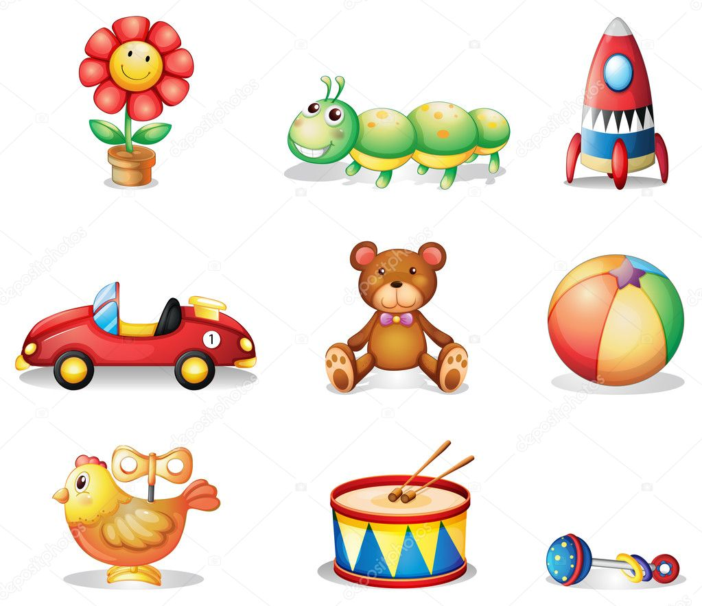 ilustracin de los diferentes tipos de juguetes para nios sobre un fondo blanco u vector de