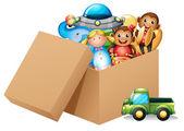 krabice plná různých hraček