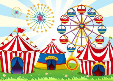Illustration of a carnival with stripe tents stock vector