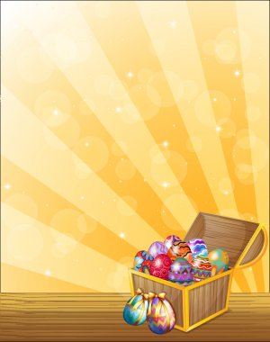 A treasure chest full of colorful eggs