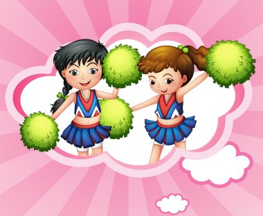 Two cheerers inside a cloud