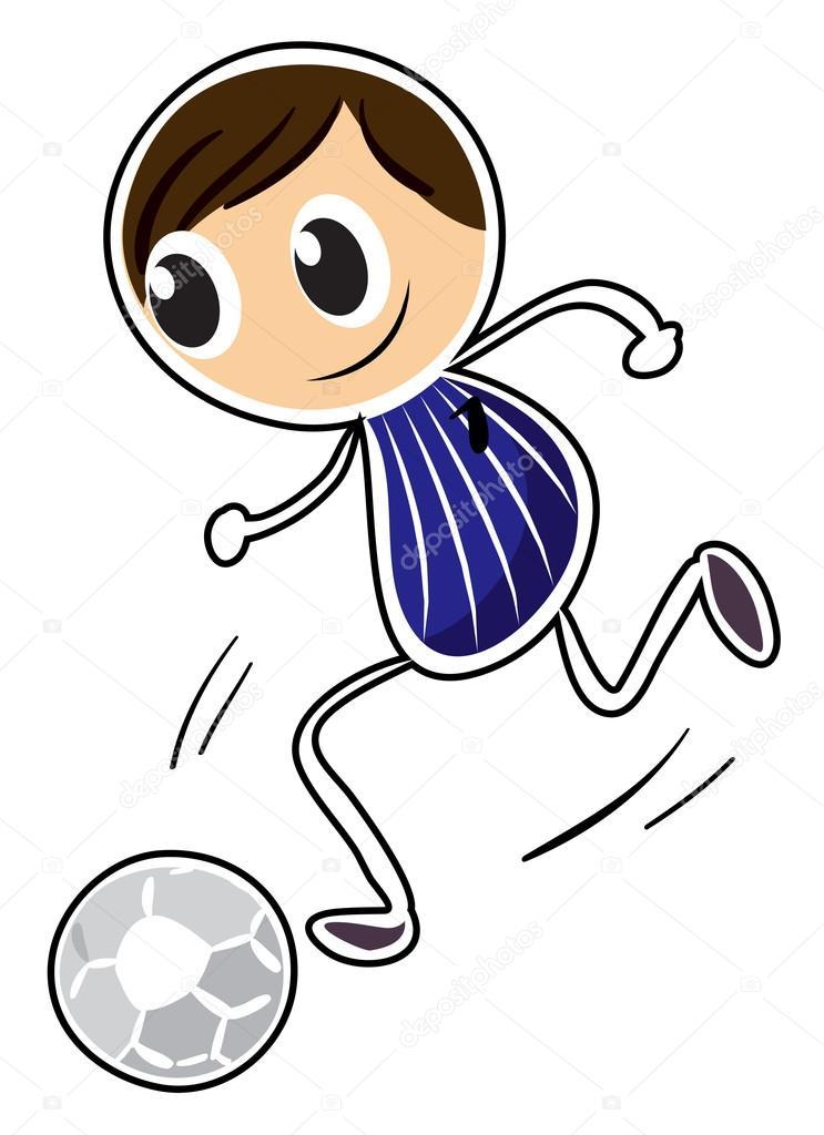 Eine Skizze Eines Jungen Der Fussball Spielt Stockvektor