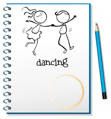 A notebook with a sketch of a girl and a boy dancing