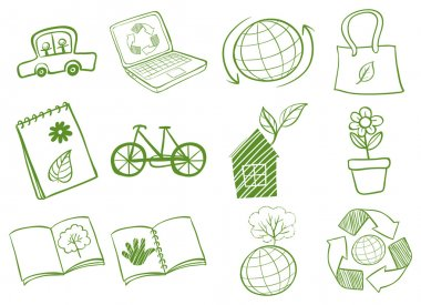 Illustration of the eco-friendly logo designs on a white background stock vector