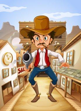 A Mexican man holding a gun