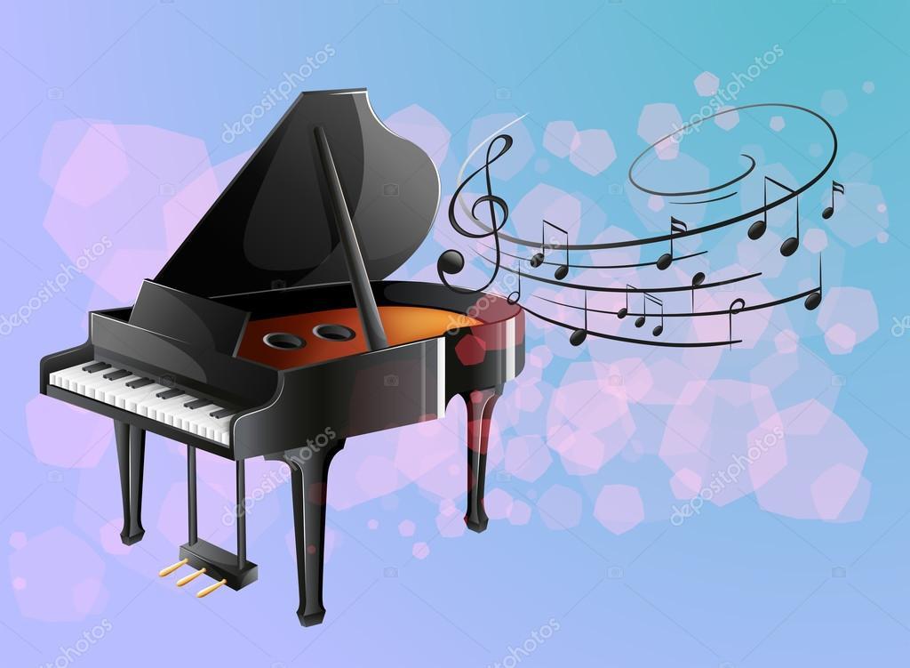 un piano avec des notes de musique image vectorielle interactimages 23774391. Black Bedroom Furniture Sets. Home Design Ideas