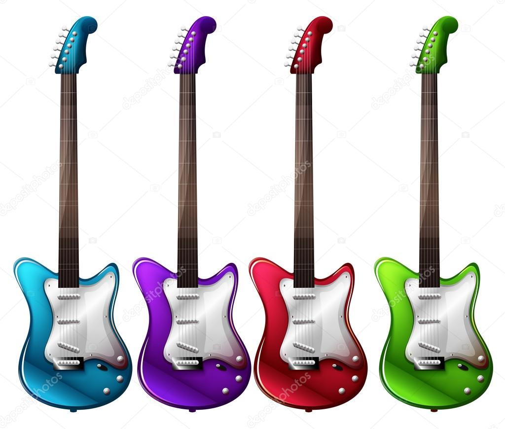 Four Colorful Electric Guitars Stock Vector