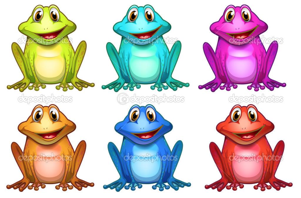 seis colores diferentes de ranas — Archivo Imágenes Vectoriales ...