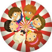 bambini che giocano allinterno di un cerchio