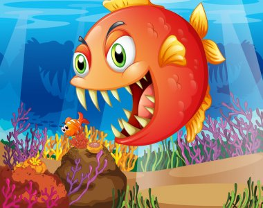 A predator and a prey under the sea