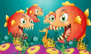 A seahorse surrounded by a group of hungry piranhas