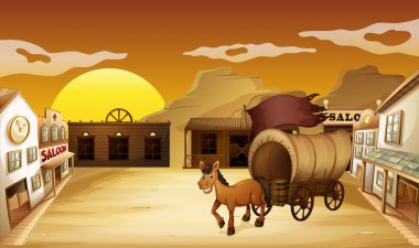 A carriage outside the saloon bar