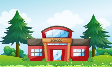 A red school building