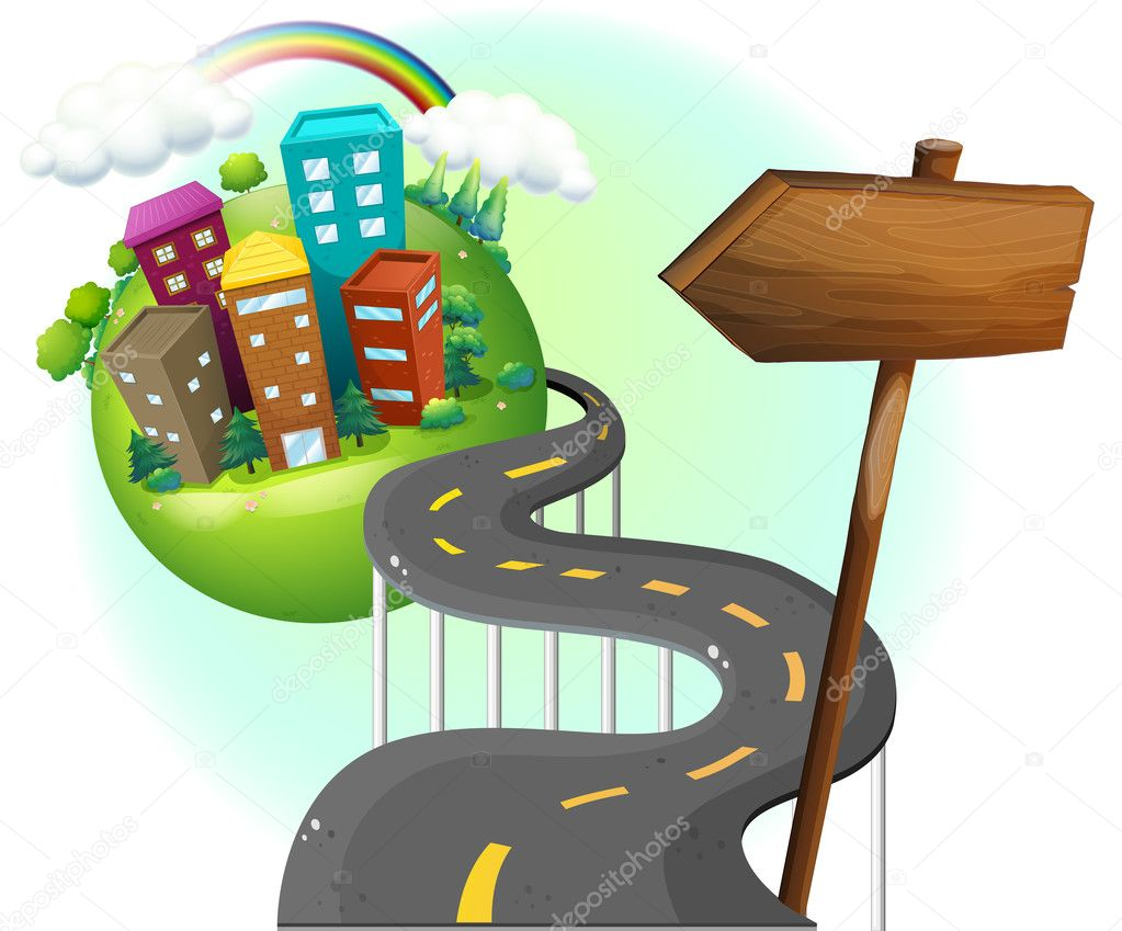 A road going to the city with an arrowboard