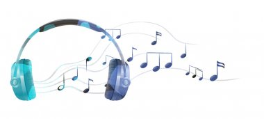 A headphone with musical notes