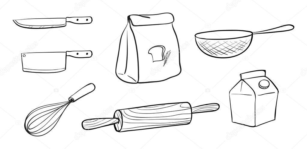 Objetos De Dibujos Animados Panadería Y Panadero: Different Kinds Of Baking Tools