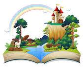 Fotografie kniha s hrad v lese